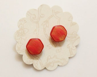 Red Hexagon Stud Earrings,Red Stud Earrings, Button Earrings, Gift For Her, Gifts Under 15