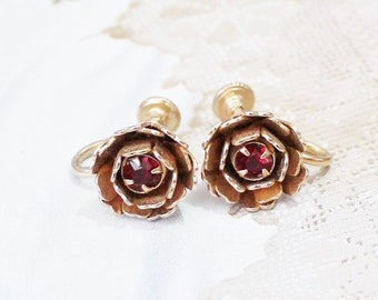 Vintage Gold Flower Earrings, Red Rhinestone Earrings, Gifts Under 15