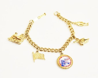 Vintage Gold Charm Bracelet, USA Jewelry
