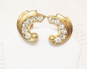 1950's Gold  Rhinestone Earrings, Screw back Earrings