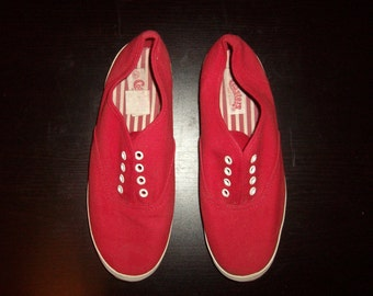 Vintage 1990s Red Canvas Sneakers, Size 6.5 or 8