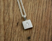 Large Square Moissanite Silver Pendant, Flush Set, Gypsy Setting, 16 inch Spiga Chain, Recycled, Eco, Ethical, UK Handmade, Ready to Ship