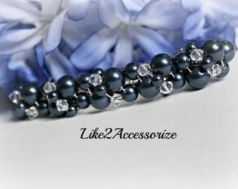 Navy Blue Barrette, Bridal Hair Clip, Wedding Barrette, Pearl Hair Accessories, French Barrette, Cream White, Wedding Clip, Pearl Hair Piece