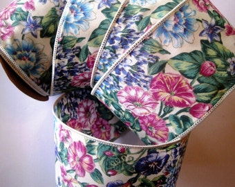 """Flower Fancy Wide Wired Cotton Ribbon, Multi-Ecru, 2 1/2"""" inch wide, 1 yard, For Home Decor, Gift Baskets, Victorian & Romantic Crafts"""