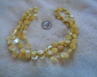 Vintage Necklace-Soft Yellow Mother of Pearl Discs-N1380