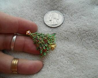 Vintage Pin--STUNNING Crystal Enamel Christmas Tree-P3660