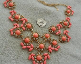 High Fashion Necklace-Peach & Rhinestone Bib Style-N1485