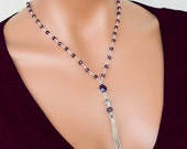 Amethyst Necklace With Turkish Tassel, Sterling Silver, Rosary Style, Y Drop Necklace, Gemstone Jewelry, February Birthstone, Chakra Stone