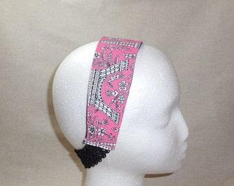 Pink and Black Paris Themed Fabric Headband