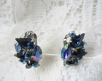 Vintage clip on earrings silver toned with variegated blue iridescent sparkling stones c1970s