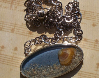 Shell and Sand Filled Pendant Silver Chain with a Magnetic Clasp