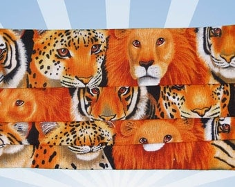 Face mask with design, Lions and Tigers, Designer face mask, mouth mask, cotton, washable, vibrant colors, Mouthshutters