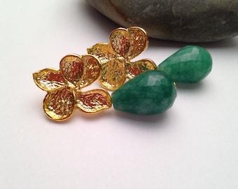 Gold Plated Flower Post Emerald Earrings