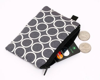 Coin purse, padded zippered pouch, womens small zip wallet, iPod nano pouch - pewter grey and white circles