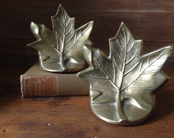Brass Maple Leaf Book Ends Mid Century Pair of 2