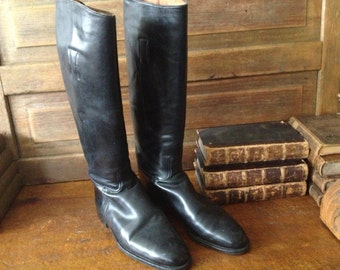 1940s Black Leather Boots, Equestrian Riding Boots England, Handcrafted Size 8.5 UK