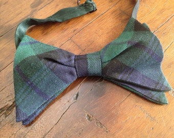 Tartan Plaid Bow Tie Blue Green Vintage from England