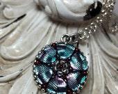 Blue and Purple Czech Glass Button Necklace