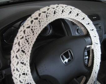 Crochet Steering Wheel Cover, Wheel Cozy - aran (CSWC 8A)