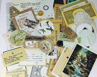 SCRAP PACK Neutral / 35 pc. Vintage Neutral Ephemera Pack Brown & Cream/ Vintage Mini Pack Collage Pieces for Altered Art Neutral Paper