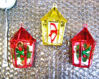 1960's Tree Ornaments, Vintage Plastic Christmas Tree Decorations, Diorama, Red and Yellow Christmas