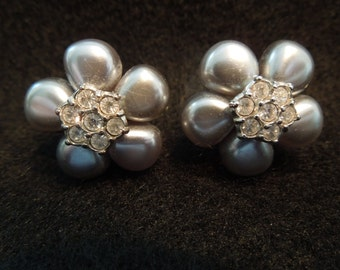 Vintage Avon Earrings, Gray Faux Pearl Clusters with Rhinestones, Clip On Style.  Signed Avon