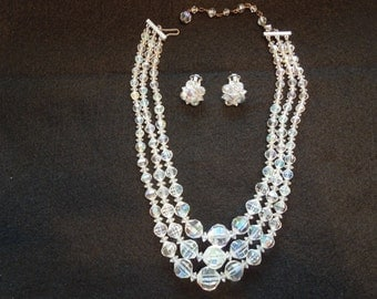 Vintage Necklace and Earrings Set.  Clear Glass Beads.  Touch of Aurora Borealis.  Triple Layer Necklace.  Stunning