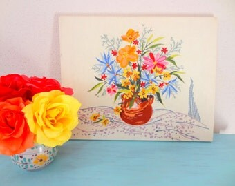 Vintage Crewel Needlepoint Vase Of Wildflowers Wall Hanging/Picture