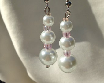 Silver Dangle Graduated White Pearl with Pink Glass Spacers Pierced Earrings