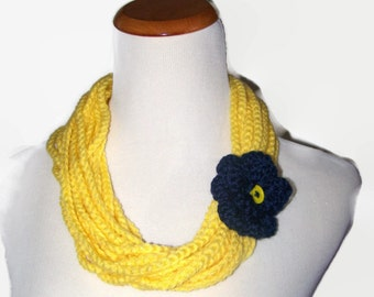 Fiber-Crocheted Necklace-Bright Yellow with a Blue Flower