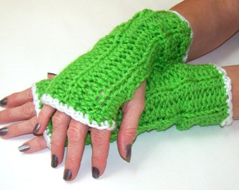 Long Fingerless Gloves, Arm Warmers, Hand Warmers,  Bright Green With White Trim