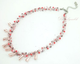 Rose quartz,crystal on silk thread necklace.