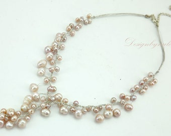 Wedding freshwater pearl on silk necklace.