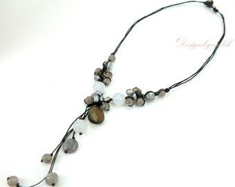 Smoky quartz,freshwater pearl on cotton necklace.