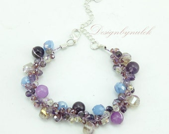 Amethyst,crystal on silk bracelet.