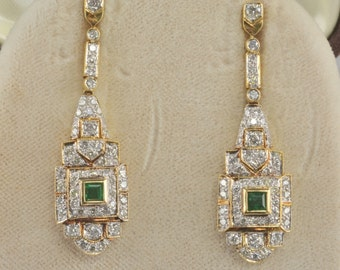 Exquisite Art Deco 1.80 Ct diamond and .65 Ct emerald long drop earrings