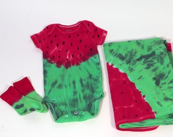 Watermelon Infant Layette #1,  Onesie, Matching Bamboo Socks and Receiving Blanket, Made To Order