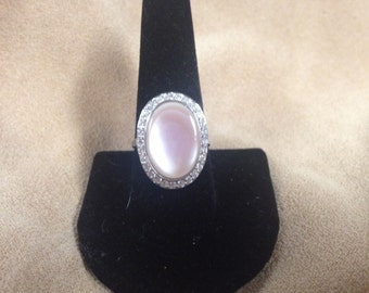 Vintage Sterling Silver Ring with Pink Stone and Cubic Zirconia