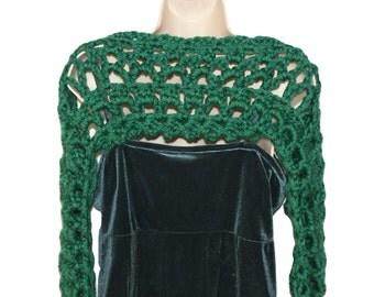 Trendy Shrug, Womens Shrug, Green Bolero, Plus Size Shrug, Shrugs Boleros, Modern Crochet Shrug, Crochet Shrug, Chunky Bolero