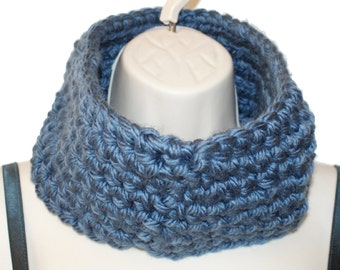 Mens Cowl Scarf,  Mens Infinity Scarf, Gift Cowl, Blue Cowl, Gift for Him, Mens Neckwarmer, Blue Cowl Scarf, Chunky Neckwarmer,