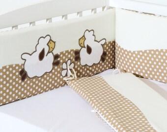 Crib Bumper, Lamb Bumper, Natural Sheep Bumper