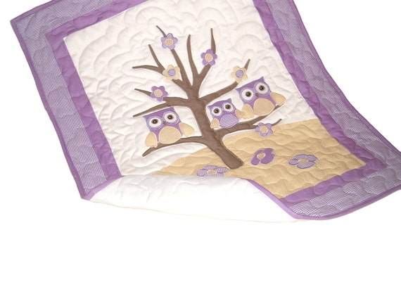 Crib Baby Quilt, Handmade Owl Blanket for Kids