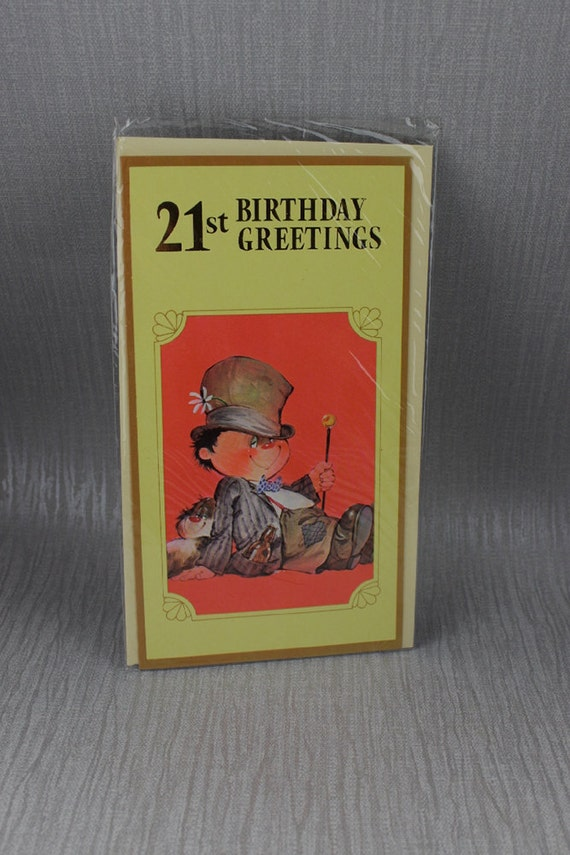 Unused Happy 21st Birthday Card Boy in Top Hat by ...