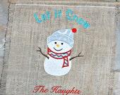 "Monogrammed ""Let it Snow "" Burlap Banner with Snowman"