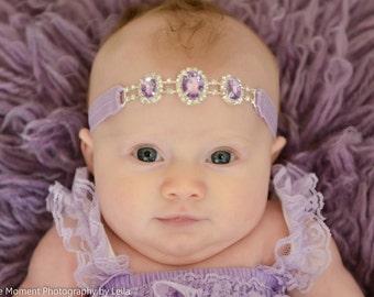 Lavender Rhinestone Headband