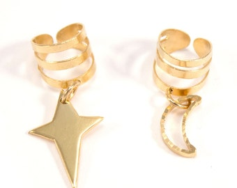 """Ear cuff gold moon and star """"On the Moon with the Star"""""""