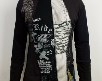 Distressed patchwork long sleeve hoodie in Gray and Black
