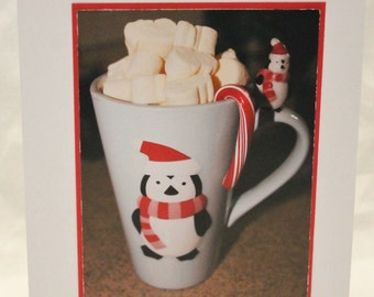 Christmas card, penguin mug hot chocolate photograph
