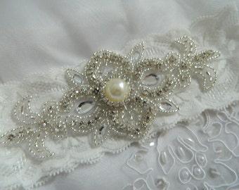Keepsake garter ,Off White Bridal Garter, Vintage Garter,  Crystal Garter