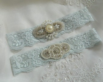 Wedding Garter - Light Blue Garter Set, Wedding Garters, Bridal Garter Set, Something Blue, Prom Garter